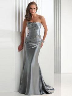 Silver Trumpet/Sjöjungfru Axelbandslös Bärlbroderi rmlös Elastisk Vävt Satäng Dresses för 6432kr