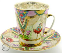 "Collectible Porcelain:  ""Balley""  Coffee Cup & Saucer ~ Embellished with 22-karat gold ~ Made by the Imperial Porcelain Factory of St Petersburg, Russia / Holy Trinity Store"