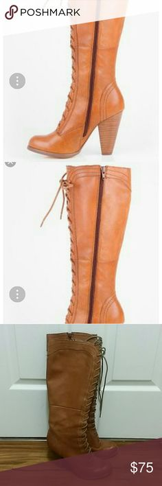 """Seychelles tall lace up heeled Brown boots Seychelles tall brown boots in excellent condition. Lace up with side zipper. Chunky 4"""" heel. Size 8.5.  A few small scuffs on the leather. Knee height. Seychelles Shoes Heeled Boots"""