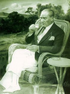 Charismatic Ataturk having a Turkish coffee
