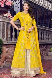 Shop Online Violet Vol 31 By Swagat 6405 Yellow Tussar Satin Party Wear Sharara Suit From Best Wholesaler Delhi , Express Shipping To Canada, Dubai, New Zealand & Worldwide Latest Pakistani Dresses, Indian Dresses, Indian Outfits, Sharara Suit, Salwar Kameez, Salwar Suits, Kurti, Gharara Designs, Western Suits