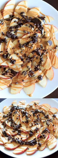 These Apple Nachos with Peanut Butter and Chocolate Drizzle from Trial and Eater are a great healthy snack that is perfect as an after school treat, or anytime you want something yummy to eat!