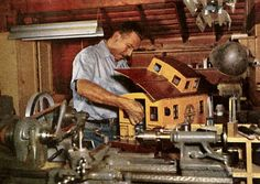 Walt Disney in his barn working on one of his trains, behind his home at 355 Carolwood Drive in Beverly Hills, Old Disney, Disney Love, Disney Mickey, Disney Parks, Disney Stuff, Disney Rides, Mickey Mouse, Disney Magical World, Walt Disney World