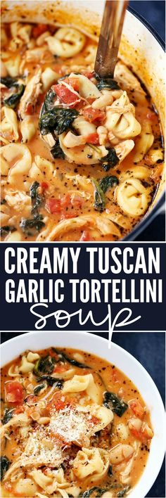 Make it Vegan - Creamy Tuscan Garlic Tortellini Soup is so easy to make and one of the best soups that you will make! Tortellini, diced tomatoes spinach and white beans are hidden is the most creamy and delicious soup that your family will love! Garlic Tortellini, Garlic Soup, Creamy Tortellini Soup, Chicken Tortellini Soup, Garlic Chicken, Chicken Tuscan Soup, Tortellini Crockpot, Chicken Tomato Soup, Easy Crockpot Soup