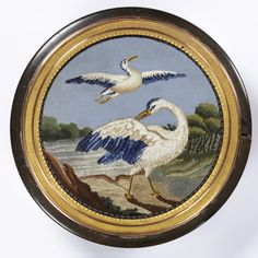 Round snuffbox (bonbonniere) with micromosaic of two storks, box marked Antoine Tardiveau, 1797-1809, Paris, France; mosaic: Paris or Rome, c. 1800, museum no. M.289:1, 2-1921 | The Victoria and Albert Museum, London