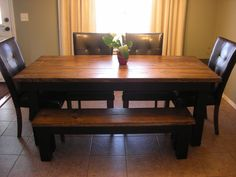 farmhouse dining set, we built the table and bench.
