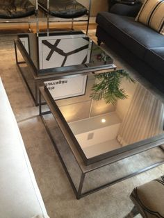 Pair Of Square Industrial Mirrored Coffee Table With Glass Top And Glass Coffee Table With Storage