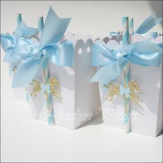 Baby Blue And Gold Carousel Party Popcorn Favor Boxes