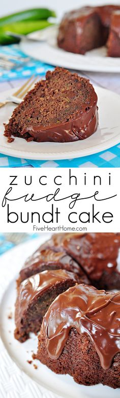 Zucchini Fudge Bundt Cake with Chocolate Glaze {OR} Chocolate Zucchini Bread ~ so moist and decadent, nobody will guess that it's hiding a pound of zucchini and whole wheat flour!   FiveHeartHome.com