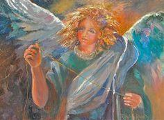 """The Angel With the Golden Strand original oil, framed"" - Original Fine Art for Sale - © Reveille Kennedy"