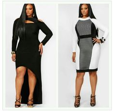 The dress on the right is soooo nice! hot outfits for plus size women 2013 Girls Plus Size Dresses, Plus Size Outfits, Curvy Girl Fashion, Plus Size Fashion, Womens Fashion, Plus Zise, A Bone, Plus Size Beauty, Hot Outfits