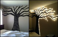 Amazing! - Taking string art, DIY and pinterest to the next level! Used masking tape to map it out first then finished with clear push pins and string plus some old christmas lights!