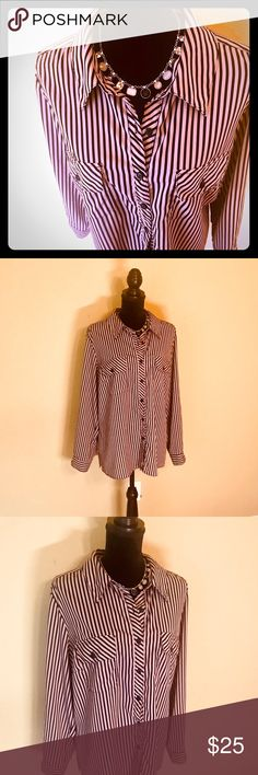 a0817fb2 Beige and Black Stripped Blouse This lovely Black and Beige Long Sleeved  blouse is by Kim