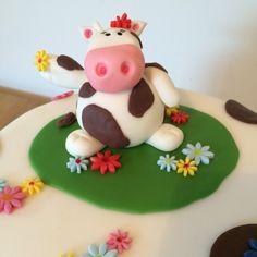 Cow themed birthday cake
