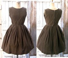 Vintage 1950s Day Dress  50s in Brown Plaid by frenchlaundryco, $85.00