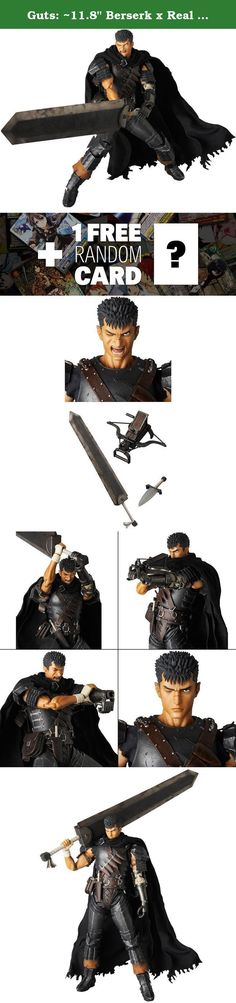 """Guts: ~11.8"""" Berserk x Real Action Heroes Figure Series + 1 FREE Anime Themed Trading Card Bundle. Real Action Heroes from Medicom is a series of highly articulated action figures with amazing details. RAH figures often comes with realistically textured costume. This figure features Guts, a character from the dark fantasy manga/anime, Berserk, that sets in a medieval Europe-inspired dark fantasy world. The hero of the legendary manga/anime saga is recreated in exacting detail for this 1/6..."""