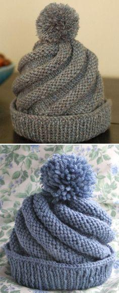 Swirled Ski Cap - Free Pattern - knitting is as easy as 3 knitting . Swirled Ski Cap – Free Pattern – Knitting is as easy as 3 Knitting boils down to three es Beginner Knitting Patterns, Knitting Stitches, Free Knitting, Knitting Projects, Baby Knitting, Crochet Projects, Free Crochet, Crochet Patterns, Crochet Designs