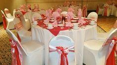 Pretty Pink and Red! Lacy's Chair Cover Rentals, LLC