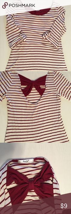 Papaya striped cotton shirt with bow on back This shirt has now detail on top of back, size small, super soft, 3/4 sleeves, can bundle 3 $9 items for $21, just bundle and offer! Papaya Tops