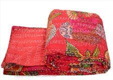 Red Kantha Quilt Indian Handmade Bedspread Throw Cotton Gudari Ethnic Blanket