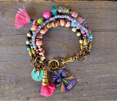 Multi strand gypsy bracelet Layering bracelet by BeadStonenSkin, €47.30