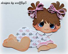 ELITE4U BABY GIRL paper pieced premade Scrapbook page album die cut WOLFFEY5 #HANDMADE