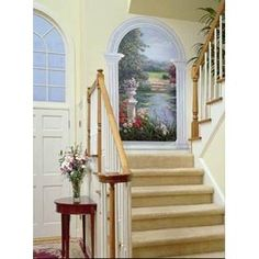 Love this idea for a stairwell.  This one is a Garden View Window Mural- Patricia Selgrath.