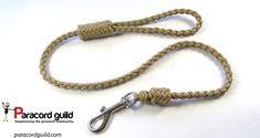 Braided paracord dog leash with herringbone knots.