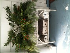 Christmas decorating in old wicker planter