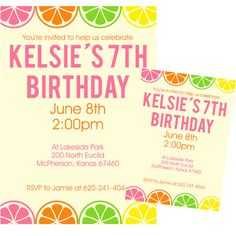 Citrus party invitations... great for a summer party!