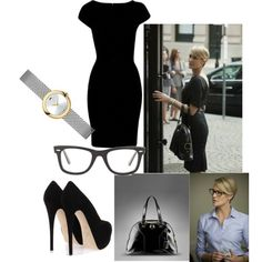 Claire Underwood day by vernitagreen on Polyvore featuring Closet, Giuseppe Zanotti, Movado, Ray-Ban and Yves Saint Laurent