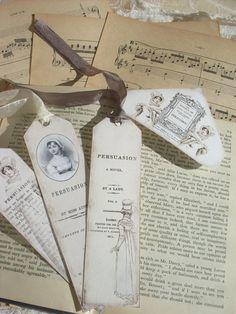 JANE AUSTEN GOODIES 1 - Persuasion - Bookmarks - Digital Scan - Printable Download - Tags - Romantic. $5.00, via Etsy.