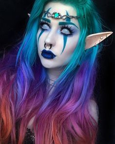 Night elf kind want to do a bas # bandages # demon . Night elf kind want to do a bas # bandages # demon . - most beautiful ideas for an evening make up.woman make up . Elf Cosplay, Cosplay Makeup, Costume Makeup, Elf Makeup, Pirate Makeup, Demon Makeup, Night Makeup, Make Up Looks, Makeup Inspo