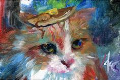 Paintings of cats with pancakes on their heads, by Dan Lacey