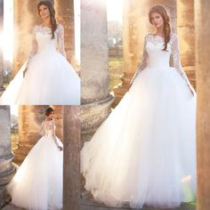 Romantic Puffy Ball Gown Wedding Dresses 2017 Lace Appliques Long Sleeve Bateau Neck Court Train Tulle Chapel Bridal Gowns New Arrival Wedding Dress With Pockets Wedding Dresse From Dmronline, $139.3| Dhgate.Com Women, Men and Kids Outfit Ideas on our website at 7ootd.com #ootd #7ootd