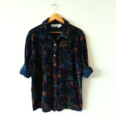 Plush Vintage Velveteen Floral Blouse Romantic Floral Boho Shirt Deep... (195 BRL) ❤ liked on Polyvore featuring tops, boho shirts, boho tops, vintage tops, velvet top and bohemian tops
