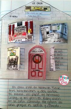 La Casa Spanish Interactive Notebook Activity ~ Students label the rooms and furniture, write sentences behind the flaps describing what happens in each room, draw their family behind the door, and write a paragraph describing their house.