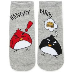 Forever21 Hangry Birds Ankle Socks (88 DOP) ❤ liked on Polyvore featuring intimates, hosiery, socks, cotton socks, forever 21, short socks, cotton ankle socks and forever 21 socks