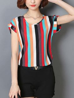 Colorful Vertical Striped Cuffed Sleeve Blouse