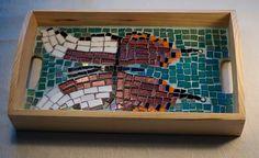 Krishna Peacock Butterfly Mosaic Tray by ButterflyMosaicsUK