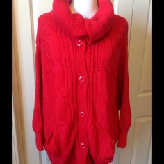 Red Cable Knit Sweater. NWT Oversized sweater with versatile collar. Can be worn as a cowl neck or unbuttoned and laid flat.  Sized as a one size but seems pretty big for a small person. Sweaters Cardigans