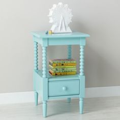 Pop of color for Allie Jae's room. Jenny Lind Nightstand (Azure)  | The Land of Nod #featheryournest