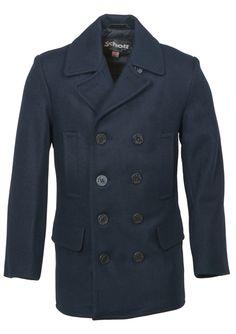 Schott Slim Fit Wool Peacoat - New Navy
