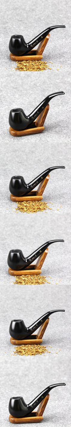 Gift Set Black Smoking Pipe 9mm Filter Ebony Wood Pipe Classic Bent Tobacco Pipe 14.5cm Wooden Pipe SS-3164