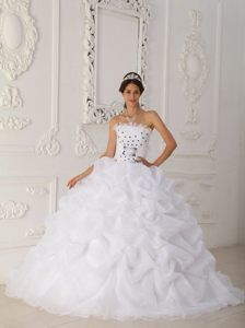 White Strapless Organza Sweet Sixteen Quinceanera Dresses with Court Train