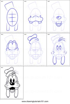 How to Draw Goofy Face from Mickey Mouse Clubhouse Printable Drawing Sheet by DrawingTutorials101.com