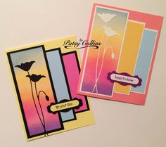 By Patsy Collins. Sponged glossy cardstock to create sky. Die-cut flower & adhered it to glossy cardstock. Cut rectangles of cardstock the colors of parts of the sky. Matted them along with the sponged image. Arranged & attached to card base.
