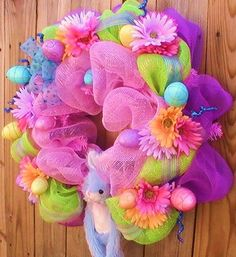 "It's "" Easter Bursting with Color "" Wreath Door Decor"