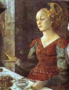 """FILIPPO LIPPI (Fra) - Erodiade da """"Banchetto di Erode - affresco - 1452-1465 - Cappella Maggiore, Cattedrale di Santo Stefano, Prato"""