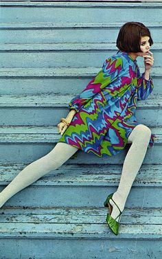 Psychedelic mod fashion for Seventeen magazine, 1960s.